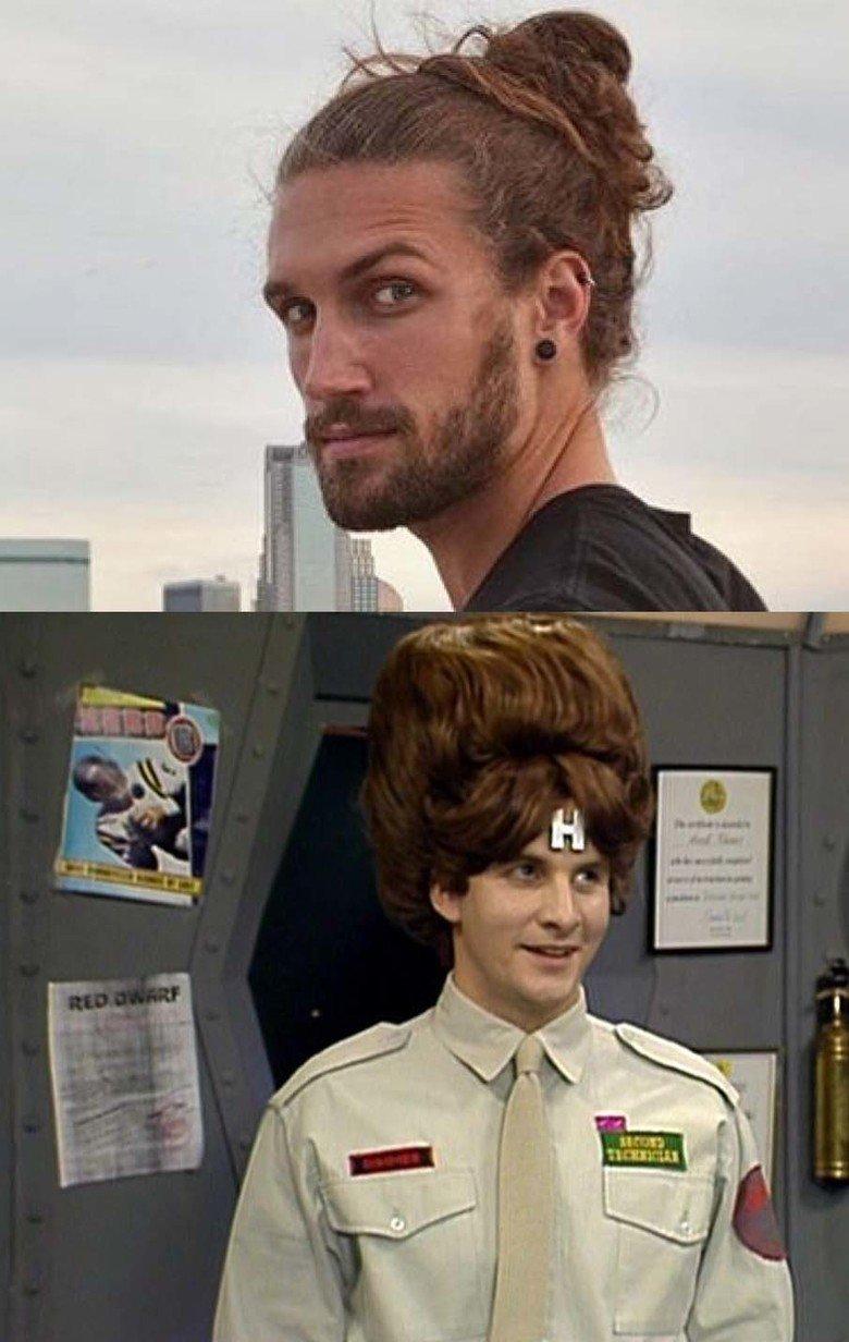 Whenever I see a man bun I think of this. .. Cheers, smeghead. Man Bun Hair arnold rimmer b52s